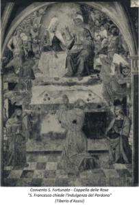 Chiesa S. Fortunato, Cappella delle Rose - S. Francesco chiede l'Indulgenza del Perdono- (Tiberio d'Assisi)